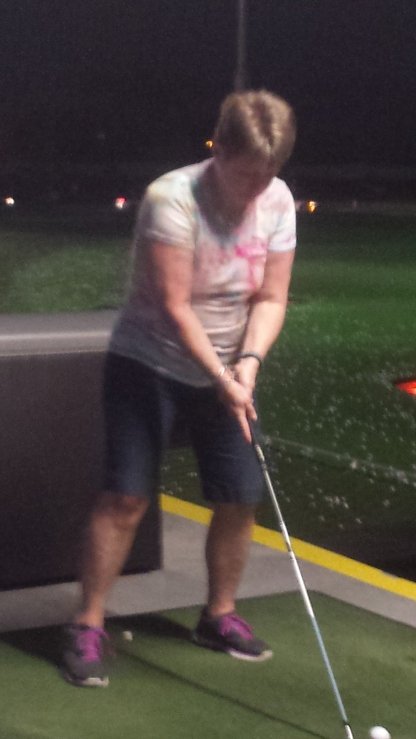 Kat at Top Golf for Jovie's birthday
